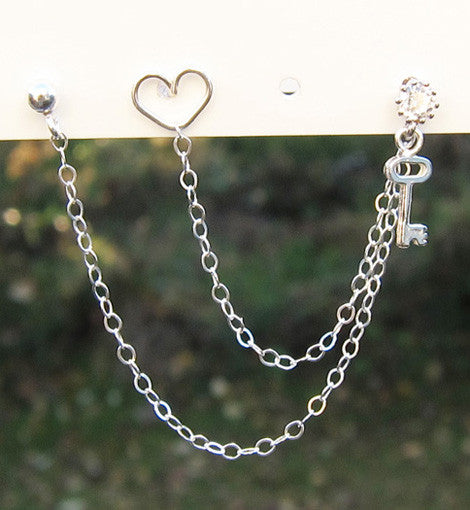Sterling Silver Key to Your Heart Triple Piercing