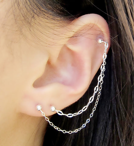 Sterling Silver Textured Chain Triple Piercing