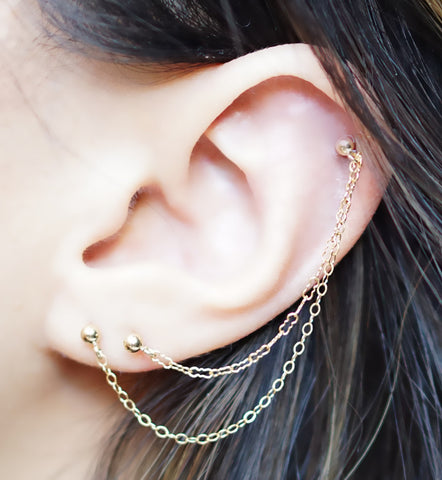 Gold Filled Krinkle and Cable Chain Triple Piercing
