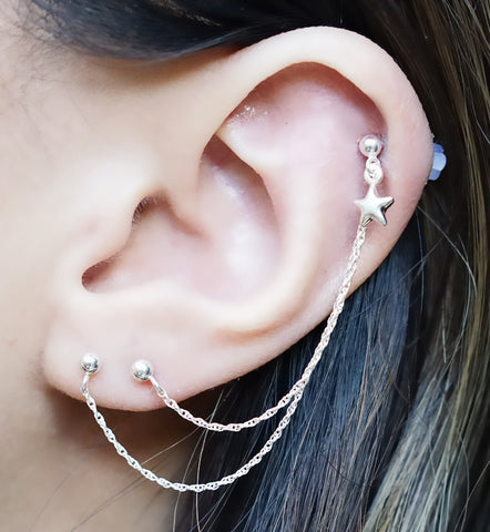 Sterling Silver 3D Star Triple Piercing