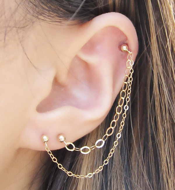 Gold Filled Small and Large Chains Triple Piercing