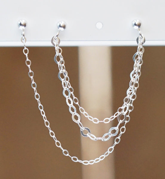 Sterling Silver Small Large Triple Chain Triple Piercing