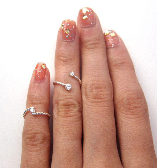 Sterling Silver Single 2mm CZ Knuckle Ring