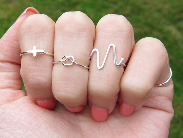 Sterling Silver Love Knot Knuckle Ring