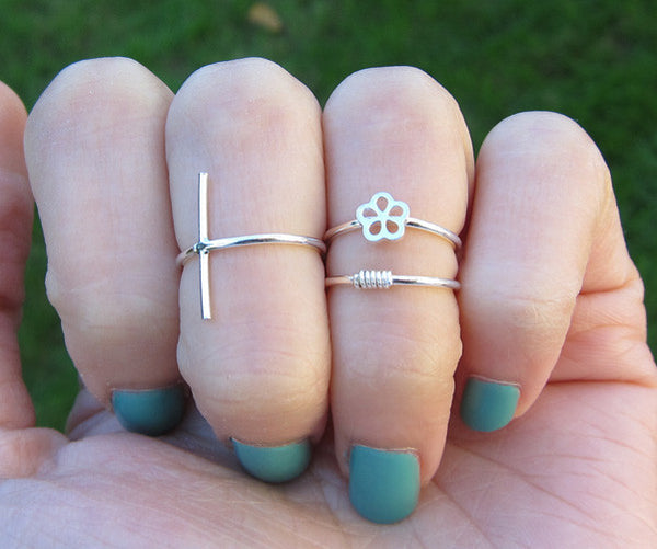Sterling Silver Cross Knuckle Ring