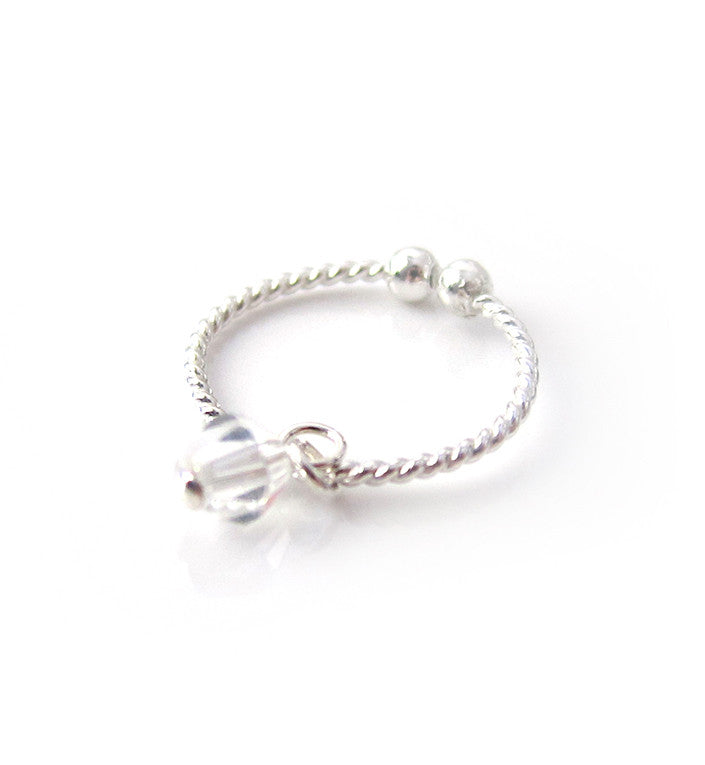 Sterling Silver Crystal Dangle Knuckle Ring