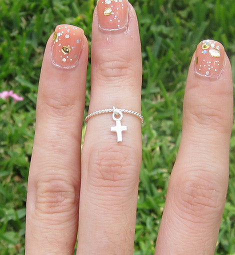 Sterling Silver Dangle Cross Knuckle Ring