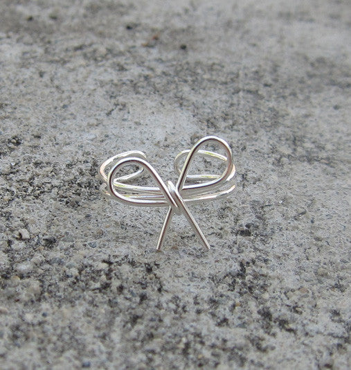 Sterling Silver Bow Knot Adjustable Pinky Ring