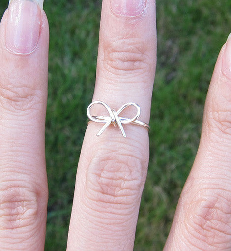 Sterling Silver Bow Knot Knuckle Ring