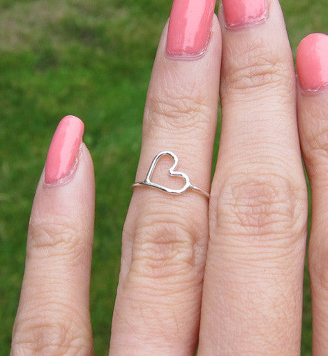 Sterling Silver Wire Wrapped Heart Knuckle Ring