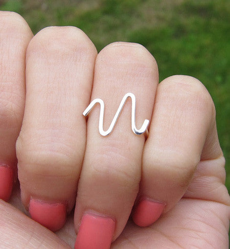 Sterling Silver Wave Knuckle Ring