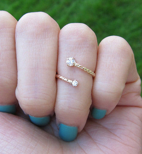 Gold Filled Cubic Zirconia Pinky Ring