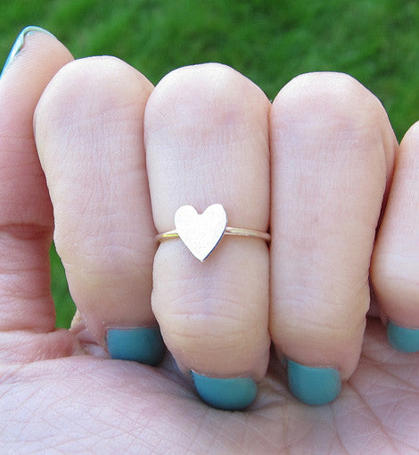 Gold Filled Solid Heart Knuckle Ring