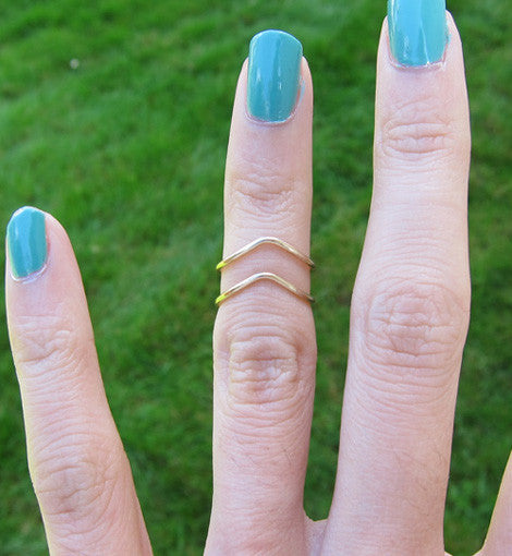 Gold Filled Chevron Knuckle Ring
