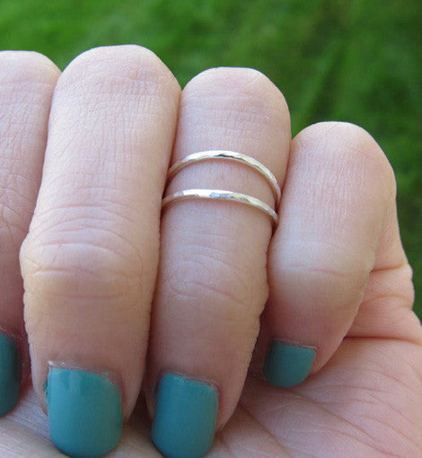Sterling Silver Hammered Thin Knuckle Ring