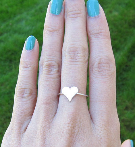 Sterling Silver Large Heart Knuckle Ring