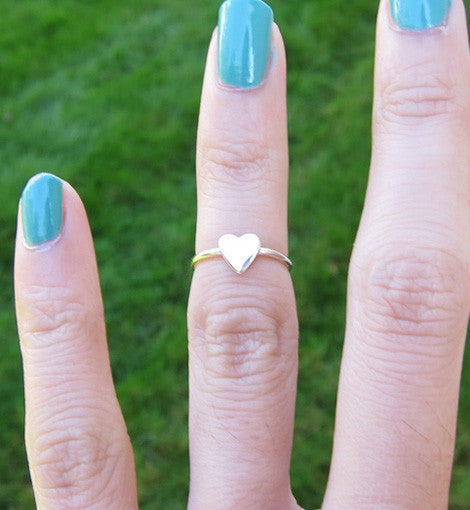Sterling Silver Small Heart Knuckle Ring
