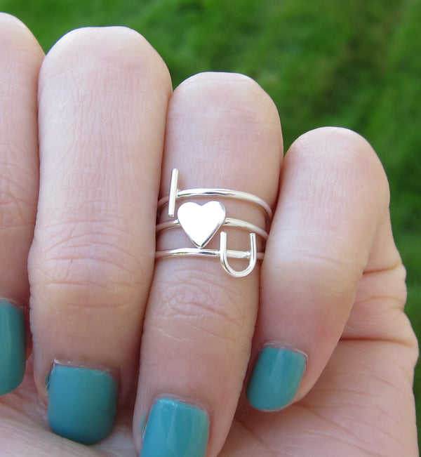 Sterling Silver I Heart U Rings Set