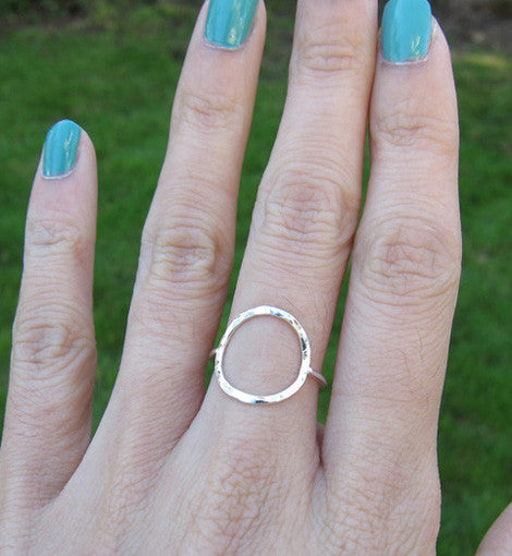 Sterling Silver Hammered Circle Ring