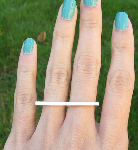 Sterling Silver Thin Bar Double Ring