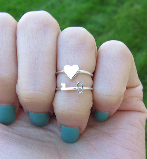Sterling Silver Key and Heart Ring Set