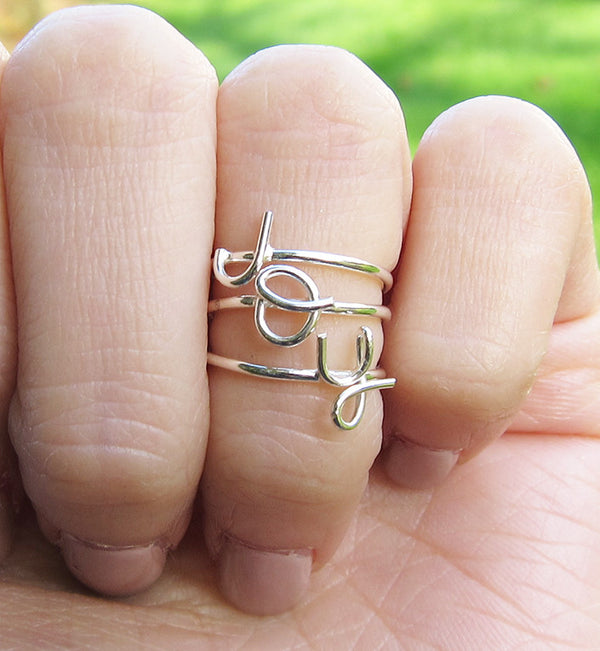 Sterling Silver JOY Knuckle Ring Set