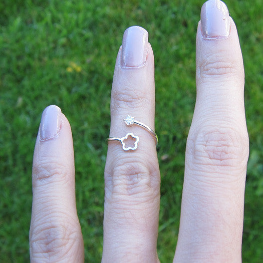 Sterling Silver Flower Cubic Zirconia Adjustable Pinky Ring