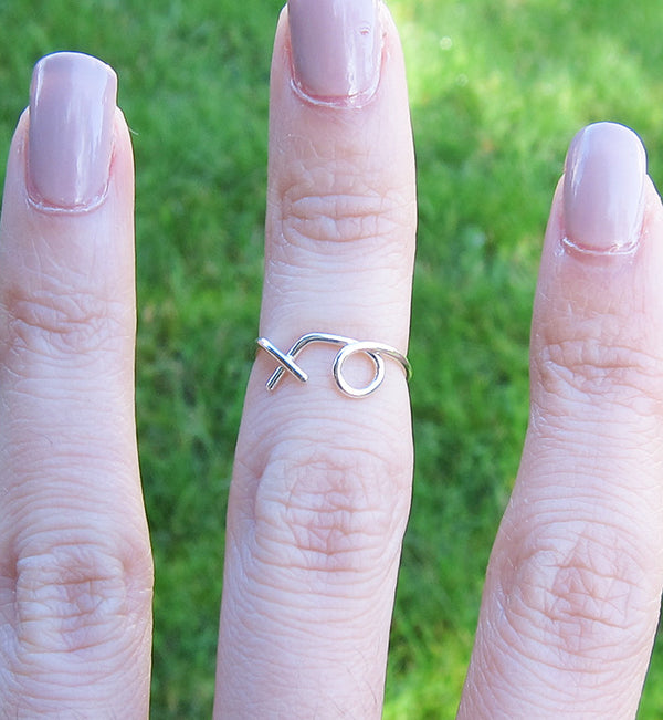 Sterling Silver XO Knuckle Ring
