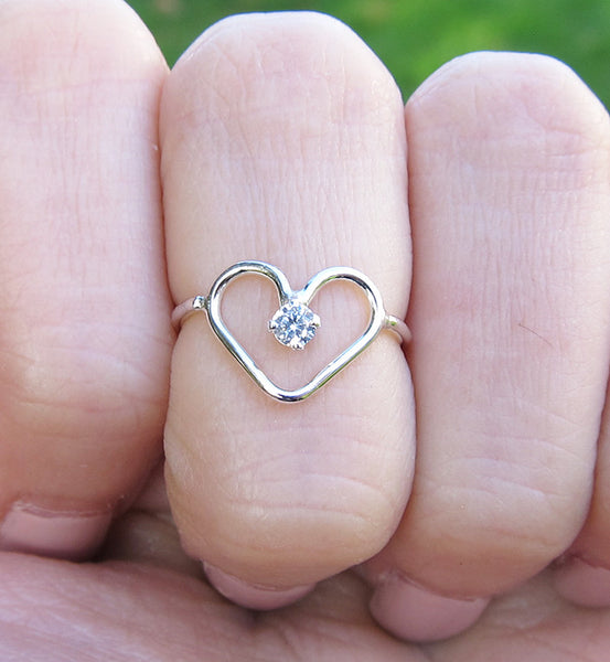 Sterling Silver Cubic Zirconia Heart Knuckle Ring
