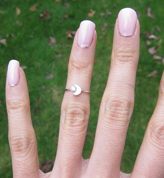 Sterling Silver Crescent Moon Knuckle Ring