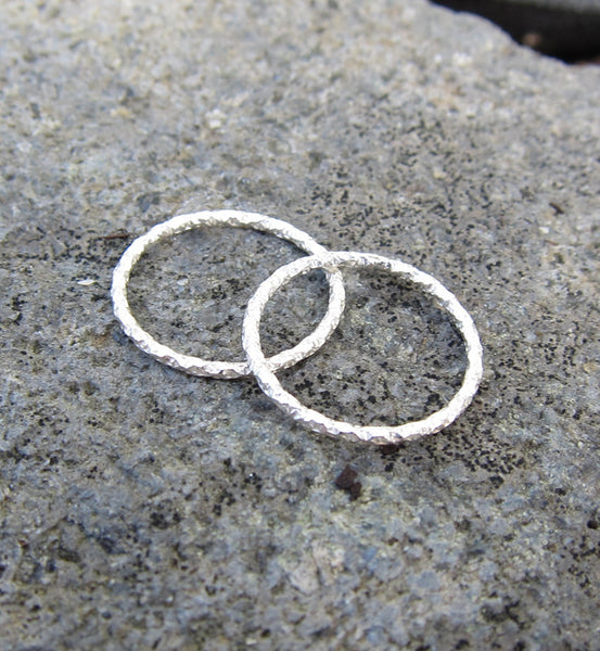 Sterling Silver Thin Glitter Textured Knuckle Ring