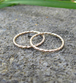 Gold Filled Thin Glitter Textured Knuckle Ring
