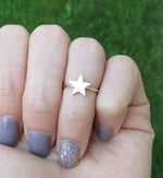Gold Filled Solid Star Knuckle Ring