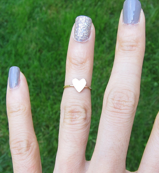 Rose Gold Filled Solid Heart Knuckle Ring