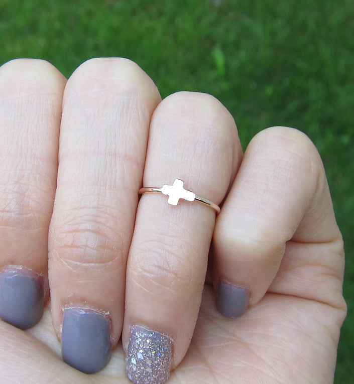 Rose Gold Filled Cross Knuckle Ring