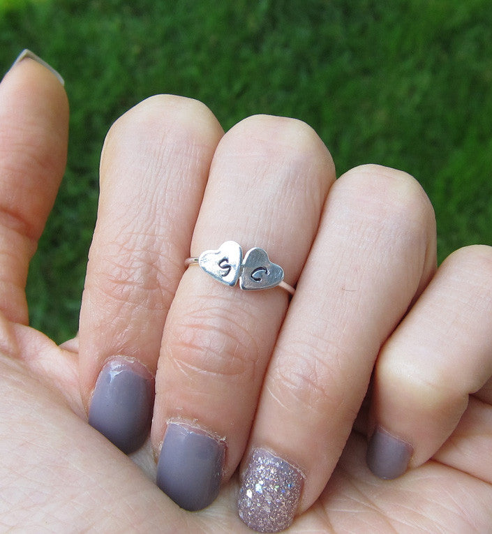 Sterling Silver Personalized Double Heart Knuckle Ring