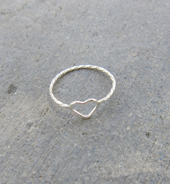 Sterling Silver Tiny Heart Pinky Ring