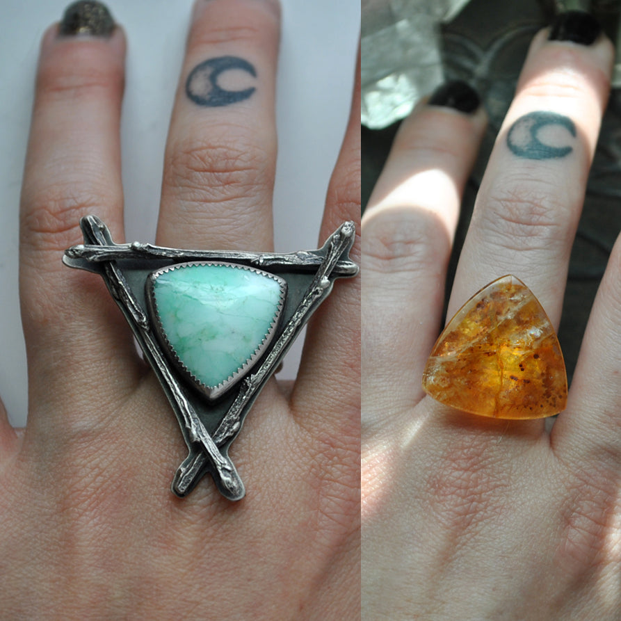 Custom Order!! Included Quartz, Witching Woods Ring OR Necklace, Sterling and Fine Silver
