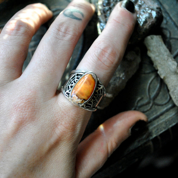 Size 7.5-8, Webbed magic, Fire Opal, Sterling and Fine Silver Ring