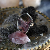 Blemished - Size 7, Watermelon Candy, Raw Tourmaline Druzy, Sterling and Fine Silver