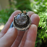 Custom Order!! STAR SAPPHIRE, Stargazing Oracle Ring or Necklace, Sterling and Fine Silver and Brass