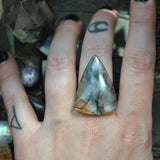 Custom Order!! LABRADORITE, Divination Ring, Sterling and Fine Silver and Brass