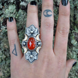 Size 6.5 - Pumpkin Harvest, Garnet, Sterling and Fine Silver and Brass