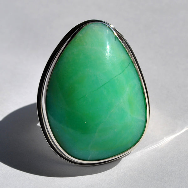 Size 9, Empress Rings, Green Opal, Solid Sterling and Fine Silver