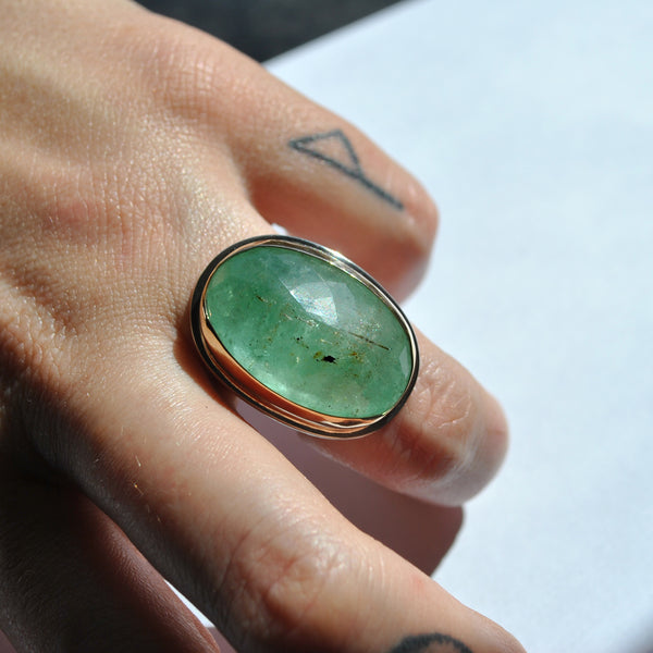 Size 6, Empress Rings, Emerald, Solid 14k Gold and Sterling Silver