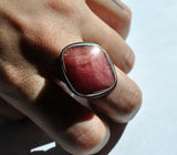 Size 7, Empress Rings, Rhodochrosite, Solid Sterling and Fine Silver