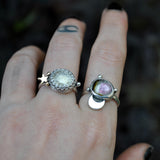 Size 8, Moon&Star sets, Tourmaline, Quartz, Topaz, Sterling and Fine Silver