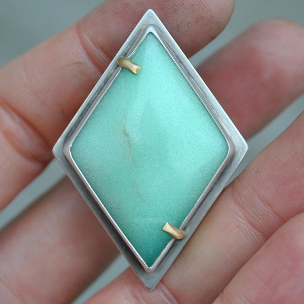 Size 6.5 - Conjuring Jewels, Chrysoprase, Sterling and Fine Silver and Brass