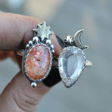 Size 4.5 and 4.75, Moon&Star sets, Confetti Sunstone and Morganite, Sterling and Fine Silver and Brass