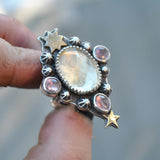 Size 5.25, Moon&Star deluxe SINGLE!, Helidor and Spinel, Sterling and Fine Silver and Brass